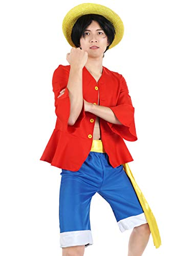 Costumes for Monkey D. Luffy After 2 Years Separation Shirt Pants Hat (S)