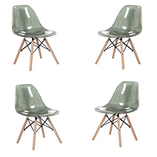 MeillAcc Stuhl, skandinavisch, transparent, 4 Stück grau
