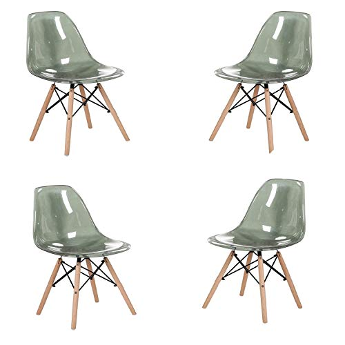 MeillAcc Lot de 4 chaises scandinaves transparentes (gris)