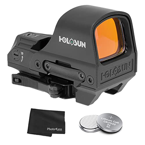 HOLOSUN HE510C-GR Elite Open Reflex Optical Multi-Reticle Green Dot Sight with QD Mount + Extra Batteries and Lens Cloth