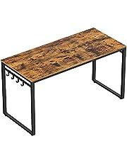 VASAGLE Datorskrivbord, skrivbord, skrivbord med 8 krokar, 140 x 60 x 75 cm, för studier och sovrum, enkel montering, stål, industriell design, rustik brun och svart LWD59X