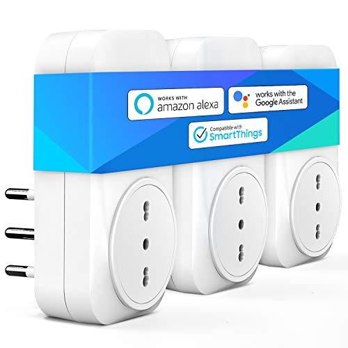 meross Presa Intelligente Wifi Italiana 16A 3680W Smart Plug Spina Energy Monitor, Funzione Timer, App Controllo Remoto, Compatibile con SmartThings, Amazon Alexa, Google Assistant e IFTTT, 3 Pezzi