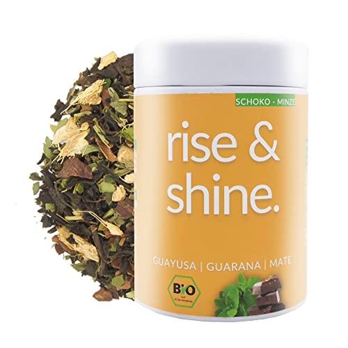 DrinkTea Rise & Shine Bio Morgen Tee | Loser Superfood Wachmacher-Tee | Schwarztee | Natürliches Koffein aus China Black, Guayusa, Guarana, Yerba Mate | Schoko Minze