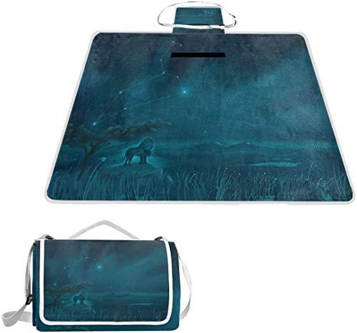 Picknickdecke, Motiv: Leo mit Sternbild, 144,8 x 200,7 cm, handliche Strandmatte, sand- und wasserdicht, für Picknick, Strand, Wohnmobil und Ausflüge