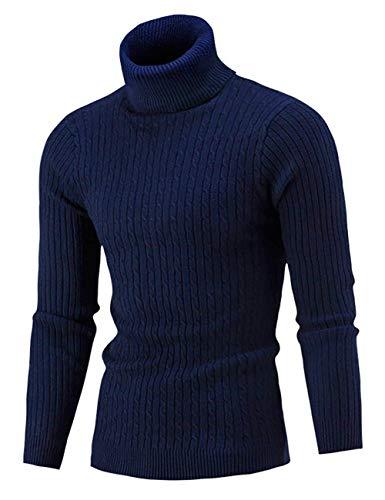 AIDEAONE Herren Pullover Strickpullover Rollkragen Turtleneck Stehkragen Sweater Warme Basic Feinstrick Rollkragenpullover Dunkelblau