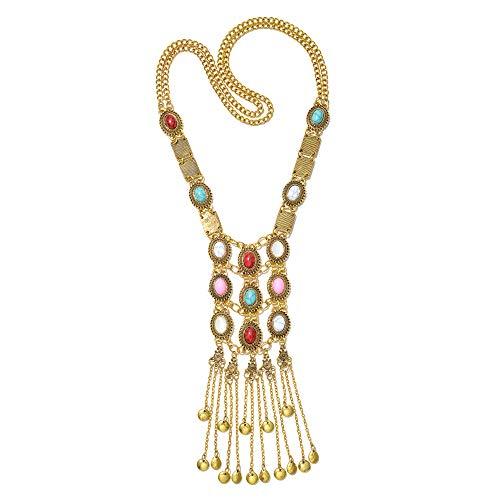 Miraculous Garden Womens Vintage Silver/Gold Turquoise Long Ethnic Tribal Boho Beads Fringe Necklace Bohemia Style Fashion Indian Turkish Themed Necklace Oxidized for Women.