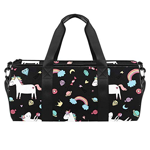 TIZORAX Sports Gym Bag Waterproof Roll Duffel Bag Cute Unicorn Dreams Travel Gym Tote Dry Wet Separated Luggage for Women and Men