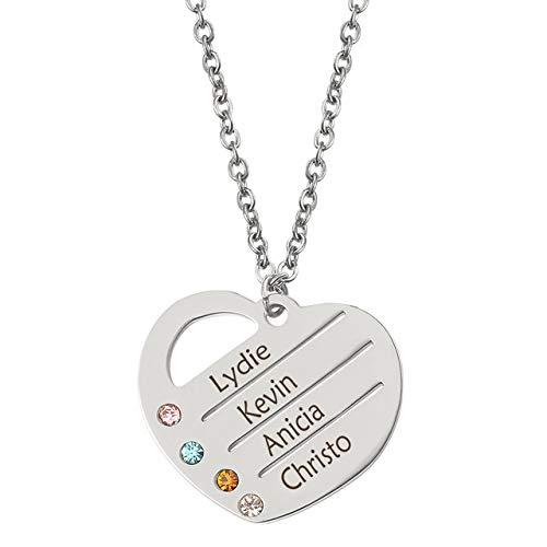 chenran Zubehör Familien-Liebe Anhänger Halskette mit GLÜCKSSTEIN Halsketten nach Maß irgendein Name Monat Personalisierte Geschenk (Metal Color : Dz0415)