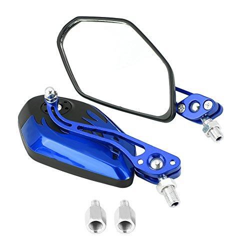 Keenso 1 Paar 8mm 10mm Universal Motorrad Rückspiegel Roller Aluminium Flamme Muster Seitenansicht Spiegel(Blau)