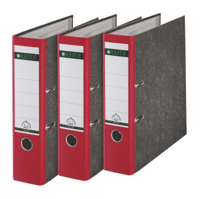 Leitz 180° A4 Board Lever Arch File 80mm Red - Pack of 3