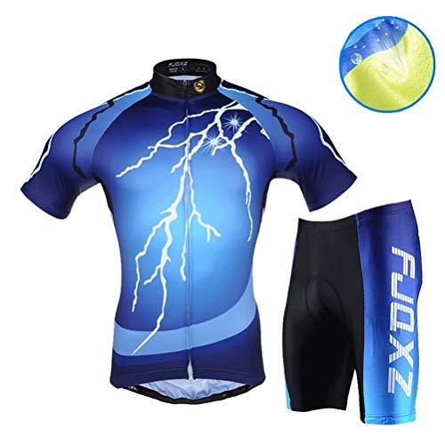 Conjunto de ropa de ciclismo para hombre, transpirable, de secado rápido, manga corta, traje de ciclismo + mallas acolchadas de gel 3D, para verano, ciclismo de carretera y ciclismo, color A, tamaño medium