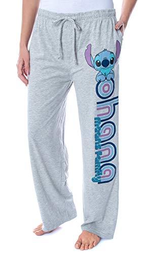 Disney Women s Lilo and Stitch Ohana Soft Touch Cotton Pajama Pants M Grey