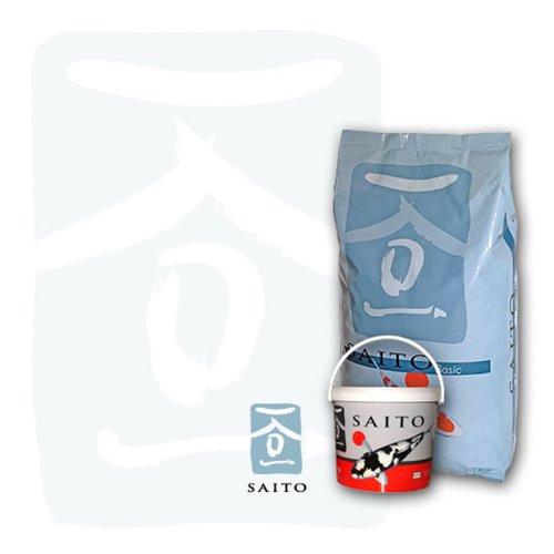 Saito Basic Koifutter, Schwimmfutter für Koi jeden Alters, unterstützt den Organismus der Koi, verbessert die Haut der Fische, lässt Farben der Koi brilliant leuchten, 15kg Sack, 5mm Koipellets