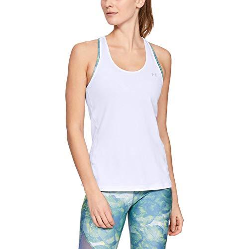 Under Armour UA Heatgear Racer Camiseta Sin Mangas, Mujer, Blanco, SM