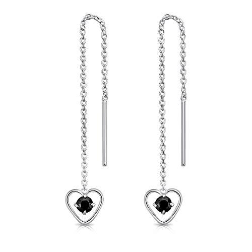 DTPsilver® Pendientes con Cadena y colgante de Forma de corazón con 3 mm Cristal Swarovski® Elements - Plata de Ley 925 - Longitud 68 mm - Color: Negro