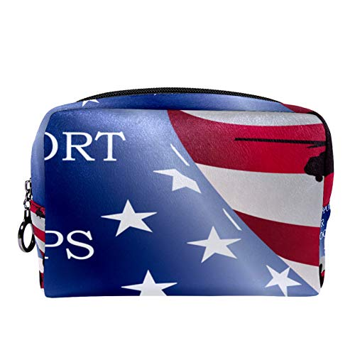 Cosmetic Bag Womens Makeup Bag for Travel to Carry Cosmetics,Change,Keys etc Support Our Troops