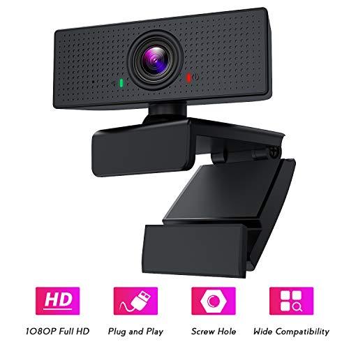 BOIFUN Webcam PC 1080P con Micrófono, Full HD Cámara Web USB Portátil para Videoconferencia Estudios Conferencias Grabación Juegos, Compatible con Windows Mac Linux Android TV [Gestionado por Amazon]