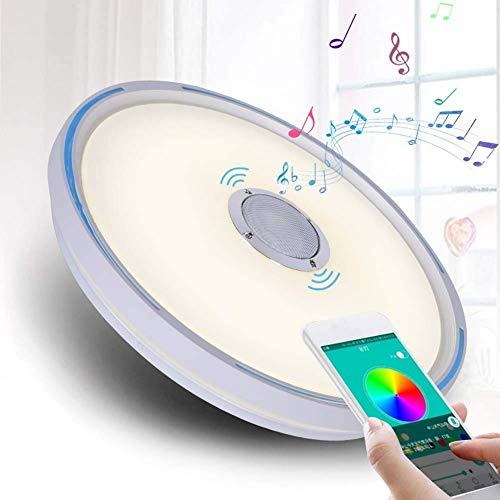 NZDY Luces de techo LED con altavoz, aplicación para smartphone, música regulable Rgbw temperatura de color ajustable, equivalente a 80 W, lámpara de montaje empotrado redondo