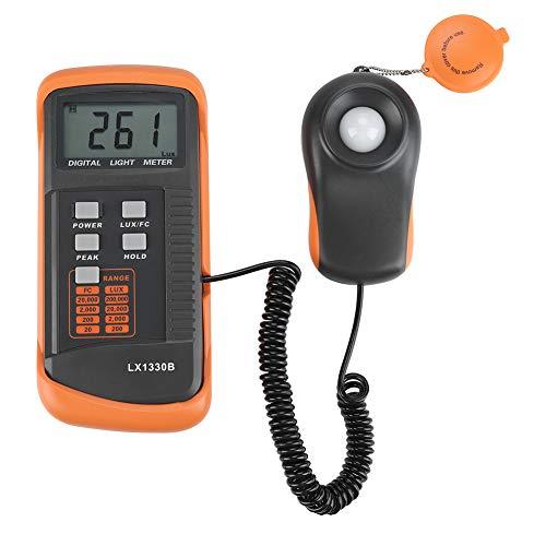 Akozon Luxómetro Profesional Digital Fotómetro 0-200,000 Lux, Gran Precisión, Pantalla LCD