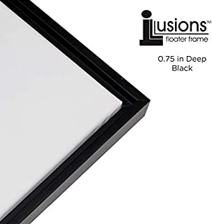 Creative Mark Illusions Floater Frame for 3/4 Inch Depth Stretched Canvas Paintings & Artwork - [Black and Black - 12x16]