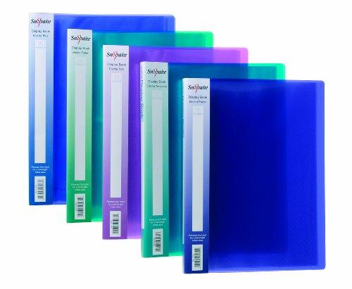Snopake A4 Sichtbuch (mit je 16 Klarsichthüllen) 10 Stück verschiedene Electra-Farben