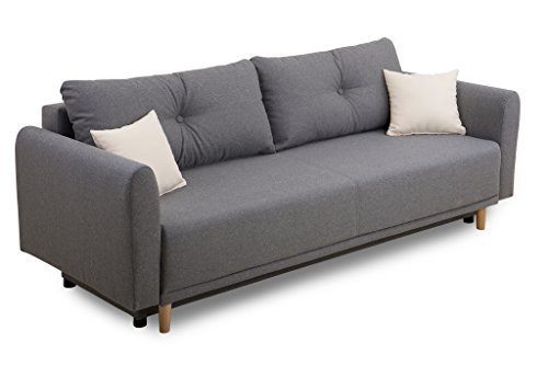 Collection AB Scandinavia Schlafsofa, Stoff, grau, 95 x 235 x 88 cm