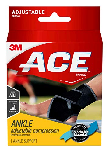 ACE-207248 Adjustable Ankle Support, Support to stiff, weak and injured ankles, Satisfaction Guarantee, One Size Fits Most,1Count(Pack of 1)