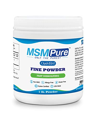 MSMPure Fine Powder, Fast Dissolving Organic Sulfur Crystals, 99% Pure Distilled MSM Supplement, 453 Grams