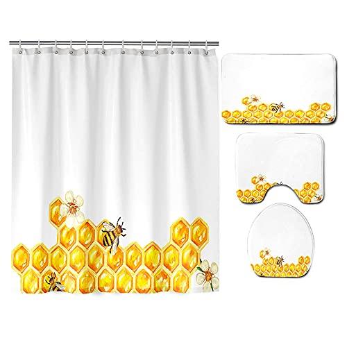 Duschvorhang Badematte Teppich Set 4 Stüc Gelbe Biene Badezimmer rutschfeste Bad Matte Wasserdicht Drucken Duschvorhang+WC-Deckelbezug Matte Pad Hauptdekoration