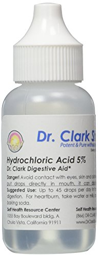 Dr. Clark Hydrochloric Acid Drops - Digestive Health, Hydrochloric Acid 5% Solution, Maintain Stomach Acidity, for Better Absorption and Assimilation, 1 Fl. Oz (30 ml)