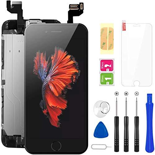 FLYLINKTECH Für iPhone 6s Display Schwarz, Ersatz Für LCD Touchscreen Digitizer vormontiert mit Home Button, Hörmuschel, Frontkamera Reparaturset Komplett Ersatz Bildschirm mit Werkzeuge
