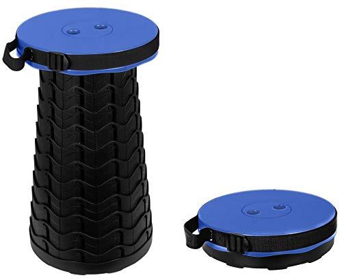 Trendyshop365 Teleskop-Sitzhocker Blau bis 180kg 10-Fach höhenverstellbar Hocker faltbar Duschhocker Camping Angeln Sitzgelegenheit für unterwegs klappbar rund Kinder Erwachsene …