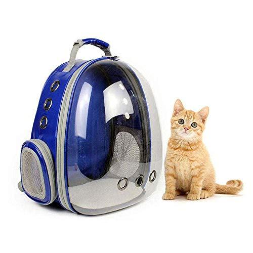 Gesh Mochila portátil para mascota/gato/perro/cachorro, diseño de cápsula espacial de 360 grados, bolsa de viaje transparente, segura y transpirable (azul), color Azul, talla Talla Unica