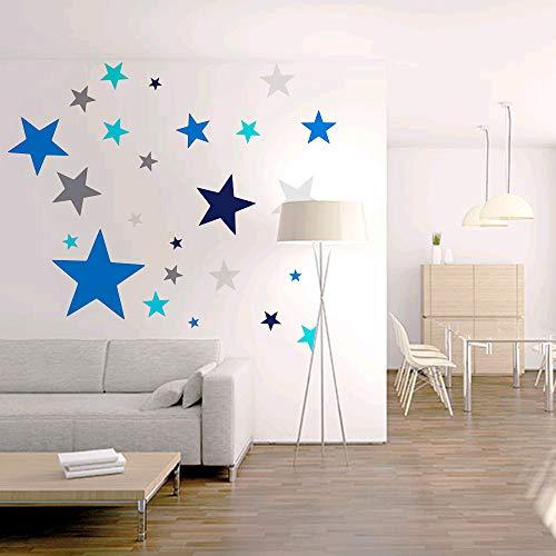 KINDPMA 6pcs Stickers Muraux Enfants Étoiles Autocollant Murale Amovible et Etanche pour Décoration Chambre Bébé Plafond Meuble TV Salon-6 Couleurs
