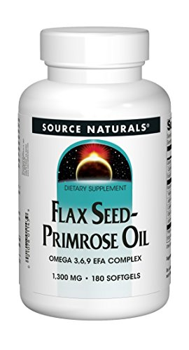 SOURCE NATURALS Flax Seed-Primrose Oil 1300 Mg Soft Gel, 180 Count