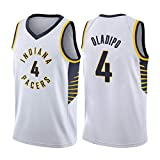 Camiseta De Baloncesto para Hombre, Indiana Pacers # 4 Victor Oladipo Uniformes Malla Bordada Retro Transpirable Swingman Sports Tops Camiseta Unisex para Fanáticos White- S