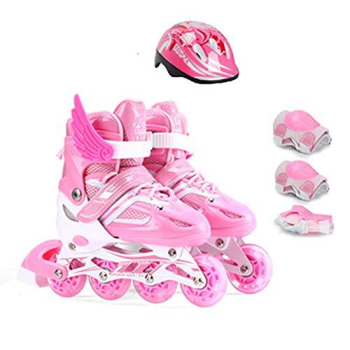 WFSH Patines en línea de Rodillos, Patines para niños Ligeros Ajustables con Ruedas Luminosas, Patines para niños y niñas Color : Pink, Size : Medium(33-37)