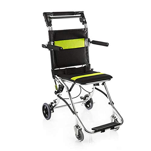 QINAIDI Leichter tragbarer Rollstuhl aus Aluminiumlegierung, einfache Übertragung, zusammenklappbarer Reiserollstuhl