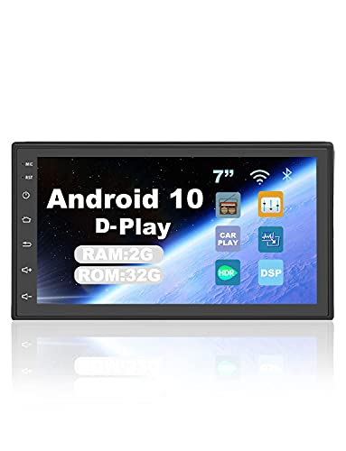 """Android 10.0 Car Stereo Double Din Bluetooth Car Radio GPS Navigation Stereo 7"""" Touch Screen Support WiFi FM/AM/RDS/USB, Mirror Link, Backup Camera Input, Front/Rear Record, D-Play with Backup Camera"""