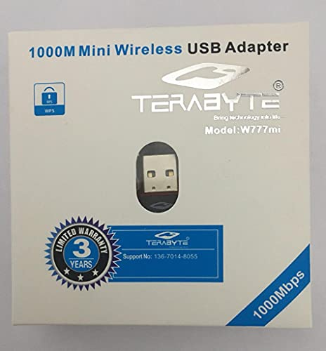 World Shopper TERABYTE 1000MBPS WiFi DONGLE Wireless Mini Network Adapter / Wi-Fi Receiver 1000Mbps, WiFi dongle Mini Adopter 2.4Ghz, 802.11B/G/N USB 2.0 (White)