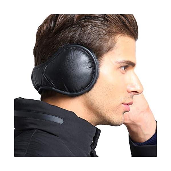 Winter Earmuffs Unisex Ear Muffs Warmers Fleece Foldable Leather Cover Black
