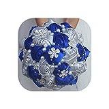 FAT SHEEP-Flowers Royal Blue Fuchsia Satin Rose Bouquet Diamond Wedding Bridal Bouquet Foam Ball Artificial Married Decor,Silver RoyalBlue,21Cm Diameter