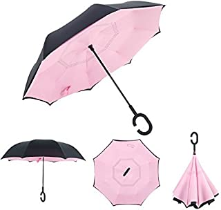 Dopobo Double Layer Inverted Umbrella Cars Reverse Umbrella Extremely Waterproof and Windproof Inverted Umbrella with C-Shaped Handle (B-P)