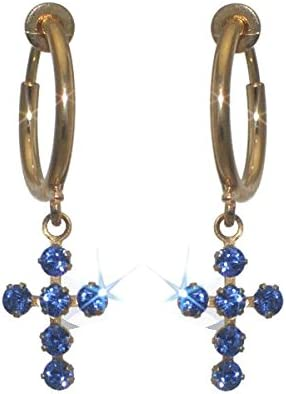 LA CROIX CERCEAU Gold Plated Sapphire Crystal Cross Clip On Earrings