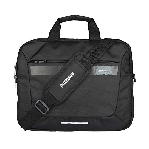 American Tourister Unisex Amt Rexton 02 Black Lightweight Laptop Messenger Bag with Multiple Organizer (Black)