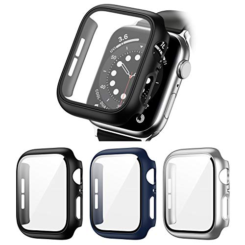 3 Pack Hard PC Case Compatible with Apple Watch Series 3/2/1 42mm, BHARVEST Case with Tempered Glass Screen Protector Overall Bubble-Free Cover for iWatch Accessories, Black+Blue+Silver