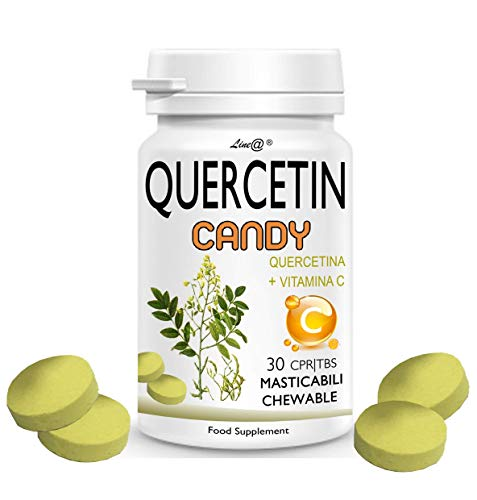 QUERCETIN CANDY Line@ + VITAMINA C - ¡Un nuevo aliado en tabletas masticables para la lucha contra las enfermedades estacionales! 200 mg de QUERCETINA + 52 mg de VITAMINA C por dosis diaria!