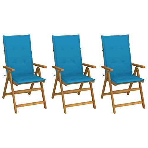 Tidyard 3X Gartenstuhl Klappbar mit Blau Auflagen Hochlehner Holzstuhl Stuhl Stühle Gartensessel Klappstuhl Gartenstühle Akazienholz Massiv