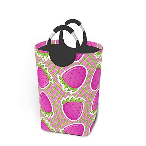 Cestas de lavandería plegables, cesto de ropa sucia, malla de fresas rosadas, cesto de lavandería plegable con asas de metal, tela de cesto de lavandería plegable para dormitorio para viajes de campam