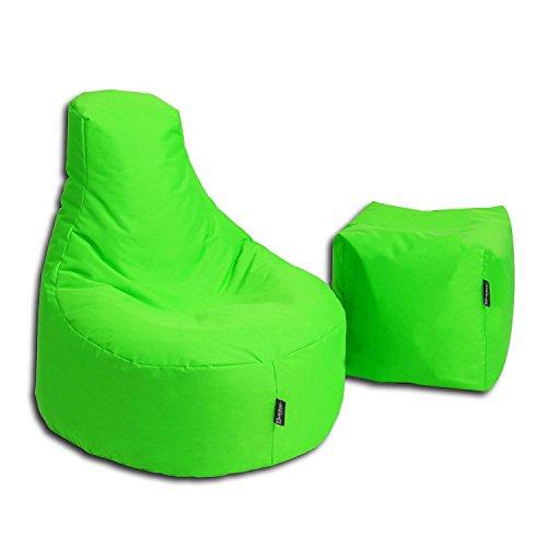 BuBiBag Sitzsack Stillkissen Set Kissen Lounge Gamer Sitzsack Sessel original Sitzkissen In & Outdoor geeignet fertig befüllt in 32 Farben (neongrün)